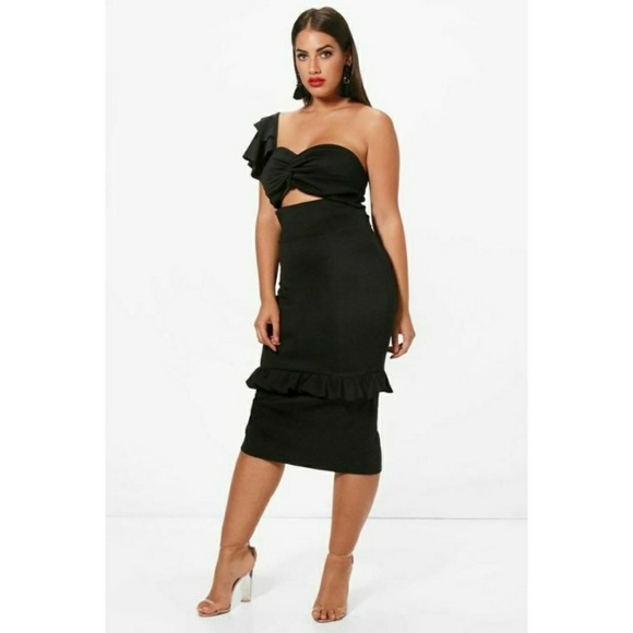 Plus Jen Scuba One Shoulder Frill Detail Midi Dres c0cb58aab